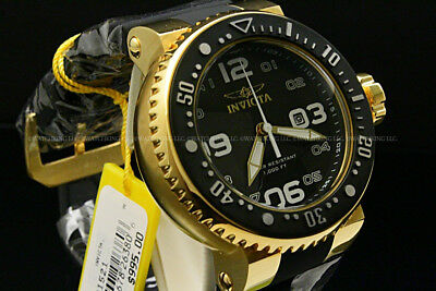 Invicta Men 52MM Grand Pro Diver 18K Gold Plated Blak Dial  SS Black Strap Watch