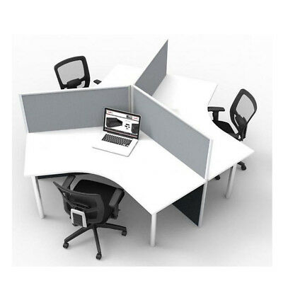 Office Partition Mounted Flat Top Desk Screens Pinnable Grey and Blue