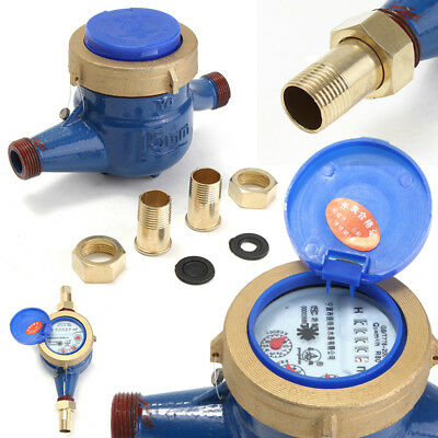 1/2inch 15mm Water Flow Meter Brass Measure Device Cold Water Counter 30 ° C