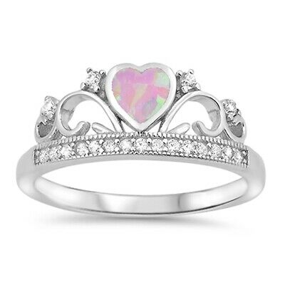Pink Lab Opal Heart Clear CZ Princess Crown Tiara Ring .925 Sterling Silver Band