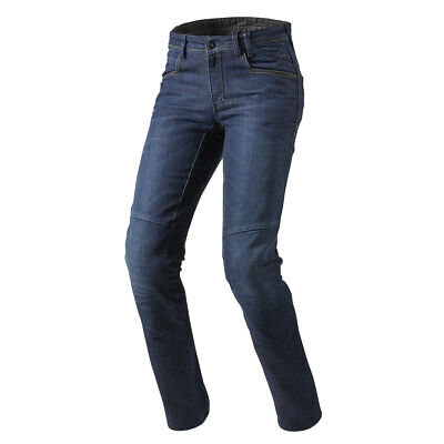 Rev'it! Seattle TF Dark Blue Moto Motorcycle Long Leg Denim Jeans | All Sizes