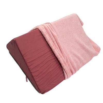 Pink Memory Foam Wedge Pillow Back Support with Cover for Sleep Relaxation