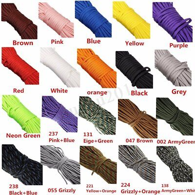 20/100FT 550 Paracord Parachute Cord Rope Lanyard Mil Spec TypeIII 7 Strand Core