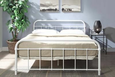 White Metal Victorian Style Hospital Metal Bed Frame Single Double King Size