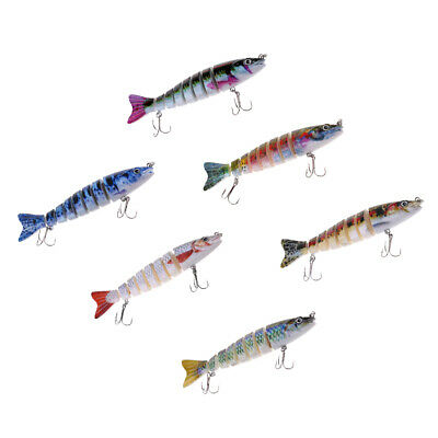 Multi-section Jointed Fishing Lure Bass Trout Bait with Double Treble Hooks