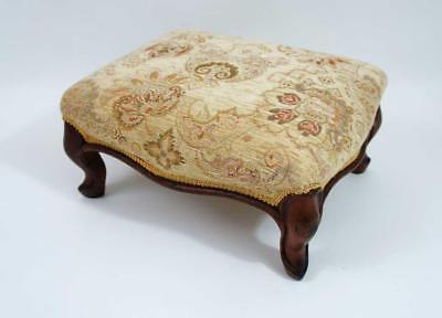 Victorian  Mahogany upholstered low foot stool - profesionally reupholstered