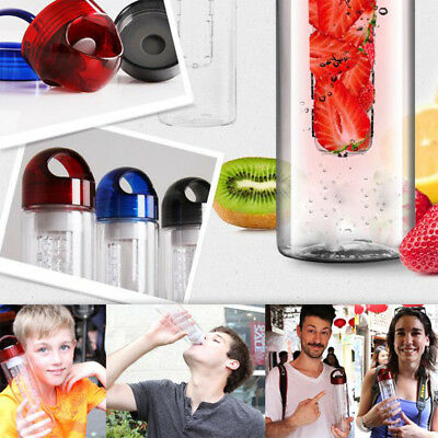 Transparent Plastic Outdoor Water Bottle Leakproof Fruit Cups Household