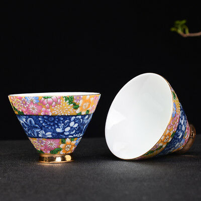 China antique porcelain hand painted blue & white gilt bamboo hat tea cup bowl