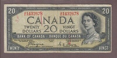 1954 $20 Dollars Devil's Face - Coyne Towers - Prefix A/E - Bank of Canada  E549