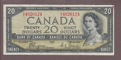 1954 $20 Dollars Devil's Face - Coyne Towers - Prefix B/E - Bank of Canada  E881