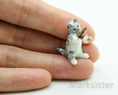 Figurine Animal Dollhouse Miniature Ceramic Cat Kitten Playing Violin - FG033-5