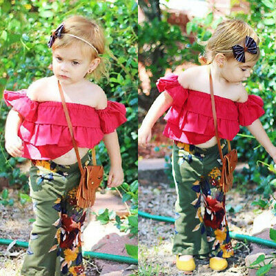 US Toddler Kids Girl Off Shoulder Tops Floral Pants Outfits Set Clothes 1-6T Mon