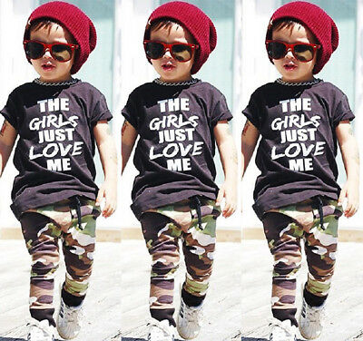 US Casual Toddler Kids Boys Tops T-shirt Camo Pants 2Pcs Outfits Set Clothes Mon
