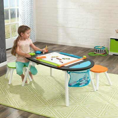 KidKraft Durable Wood and Metal Construction Deluxe Chalkboard Art Table & Stool