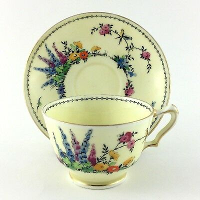 Crown Staffordshire Footed Teacup And Saucer Flower Garden Gold Trim Bone China