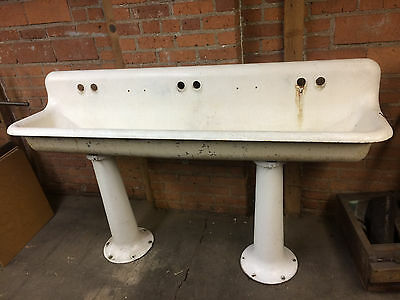 Porcelain Cast Iron Triple Faucet Double Pedestal School Farmhouse Factory Sink