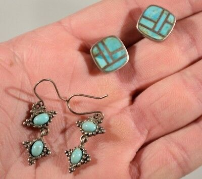 Vintage Sterling Silver Turquoise Earrings 2 Pair of Fancy Native Style 925