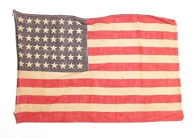 """Antique 48 STAR US FLAG WWII Era Correct Small 9"""" x13.5"""" (Stains, Holes) 1224-23"""