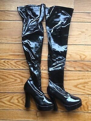 Pleaser Women's Sexy Black Platform Over Knee Thigh High PVC Shiny Boots Size 9