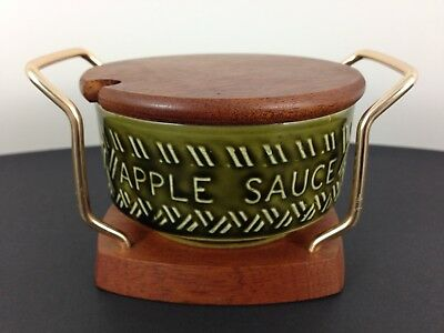 Vintage Lord Nelson Pottery Apple Sauce Pot w Wyncraft Wooden Lid & Stand