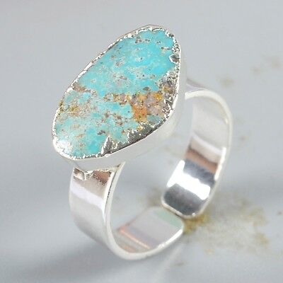 Size 7 Natural Genuine Turquoise Adjustable Ring Silver Plated B041909