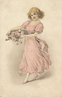 CE38.Vintage Postcard. Young girl carrying a basket of roses