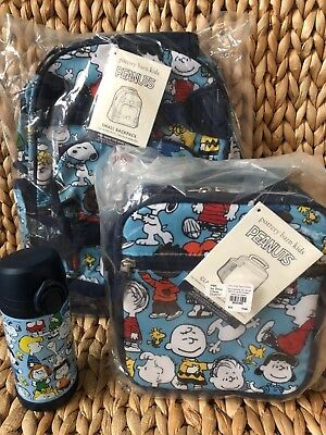 New Pottery Barn Kids Peanuts Snoopy Small Backpack Water Bottle Lunch Box NWT