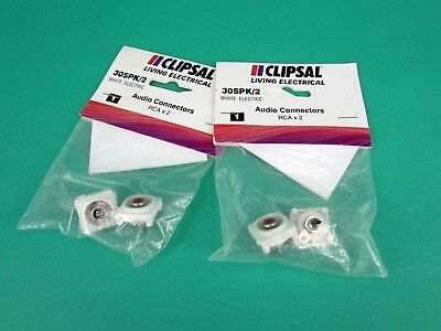Pack of 2 Clipsal 30SPK RCA Audio Connector Red & Black White Electric