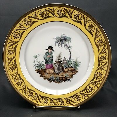UNREAL! KPM Berlin 18th Century Hand Painted Chinoiserie Scene Dinner Plate