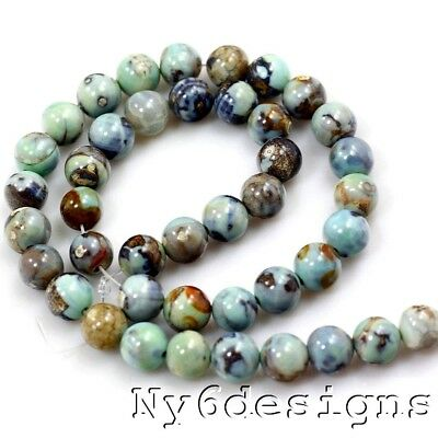 Gemstone 8mm Natural Blue Dragon Jasper Round Spacer Loose DIY Jewelry Beads 15""