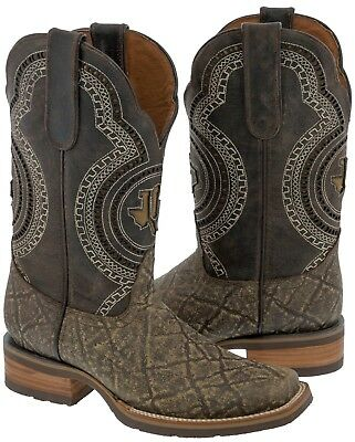 6805686272f MEN'S ELEPHANT PRINT Cowboy Boots Overlay Rustic Sand Western Rodeo ...