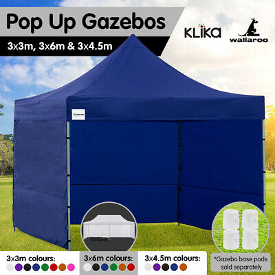 New WALLAROO 3x3m 3x4.5m 3x6m Pop up Outdoor Gazebo Folding Tent Marquee Canopy
