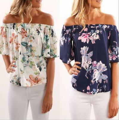 AU Womens Off Shoulder Blouse Top Short Sleeve Floral Loose Casual Tops T Shirt