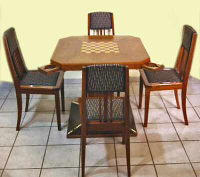 Jugendstil Spieltisch Mit 4 Sessel Eiche Deutsch Gaming Table 4 Chairs Ca 1910