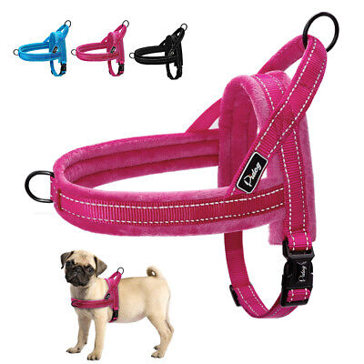 No Pull Reflective Dog Harness Plush Padded Vest Quick Fit Front Leading XS SM L