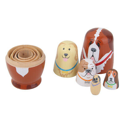 5pcs Hand Painted Wooden Dogs Animal Russian Nested Stacking Doll Matryoshka
