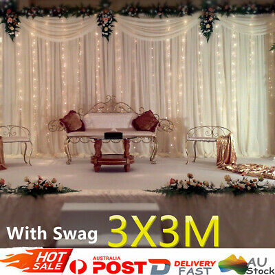 AU Wedding Party Stage Backdrop Swag Drape Sheer Satin Curtain Photo Background