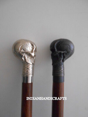 Set Of 2 Wooden Walking Stick Skull Handle Designer Gift Halloween Collectors