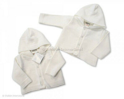 Baby boy girl hooded white cardigan newborn 0-3-6 months gift new winter knitted
