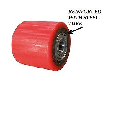 90 mm PALLET TRUCK ROLLER / WHEEL CAST IRON /POLYURETHANE with 2 METAL BEARINGS