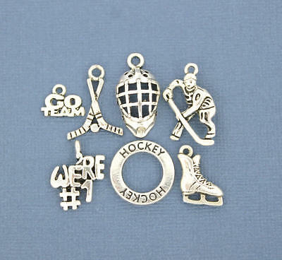 Hockey Charm Collection Antique Silver Tone 7 Different Charms - COL069