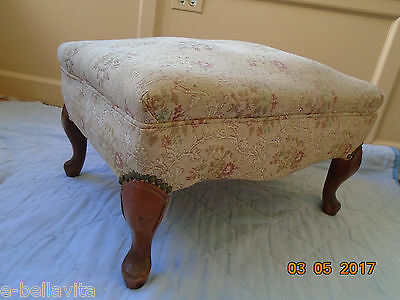 *vintage Padded Upholstered Wooden Ottoman / Stool With Springs