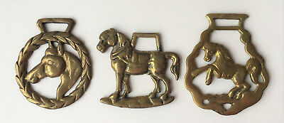 Horse Brass Medallion Vintage Lot Of (3) Heavy Horse Draft Harness Decorations