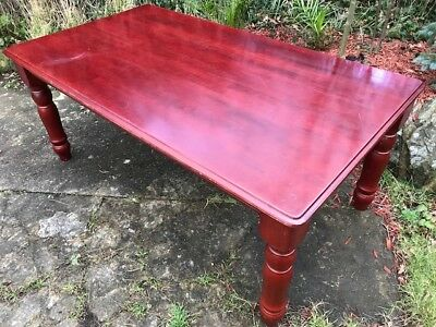1 Monumental Large Red Mahogany Dining Table To Seat 8