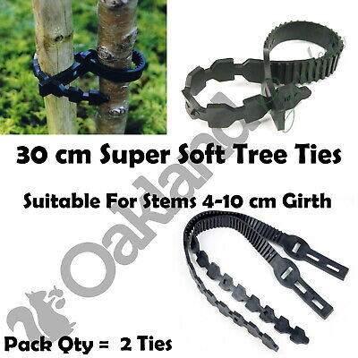"""2 X 30cm (12"""") Super Soft Rubber Tree Ties Straps Plant Support Whip Bareroot"""