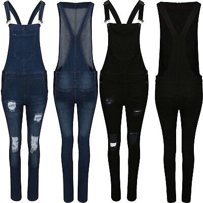 Womens Ladies Plus size Denim Dungaree Full Length Pinafore Jumpsuit size 8 -16