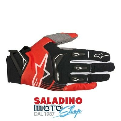 Guanti Cross Alpinestars Techstar Gloves Nero Rosso 3561018