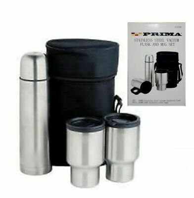 Set 4pc Case Flask 2 Stainless Steel Travel Vacuum And 05l Carry Mugs Thermos VUMpzS