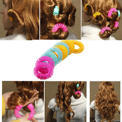 8x Womens Hair Roller Hairdress Magic Curler Spiral Curls DIY Hair Styling Tools