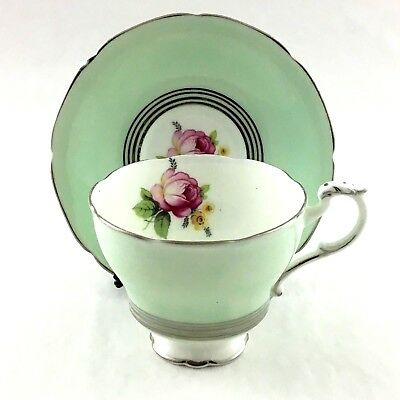 Paragon Footed Teacup And Saucer By Appointment Queen Mary Pink Rose Silver Trim